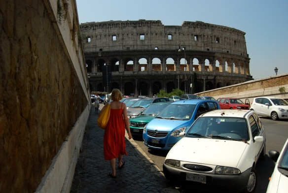 Missy approaches the Colosseum.