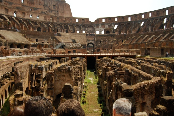 A view from inside the Colosseum.