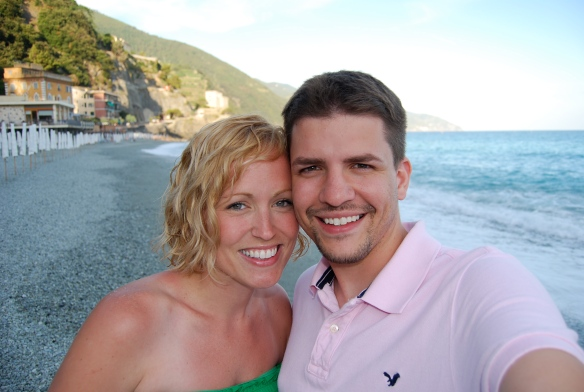 Missy and I on the beach of Monterosso.
