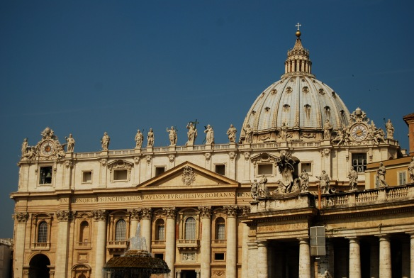 The facade of St. Peter's Basilica.