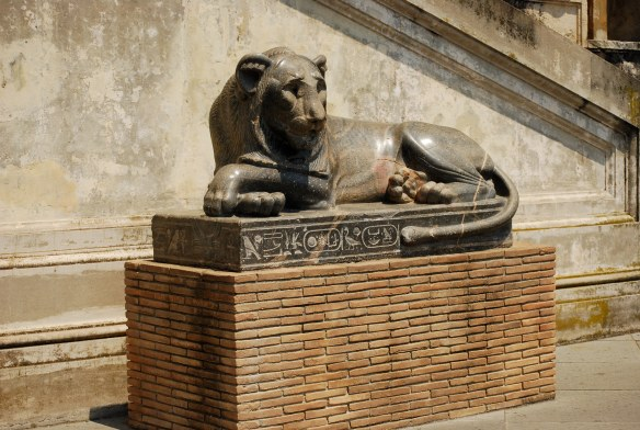 Granite lion statue from ancient Egypt.  I just like the hieroglyphics.