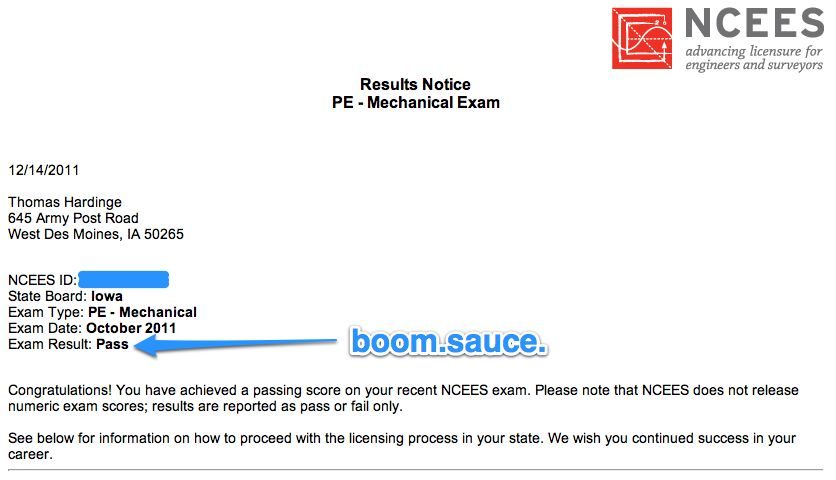Exam Result: Pass | living in pursuit