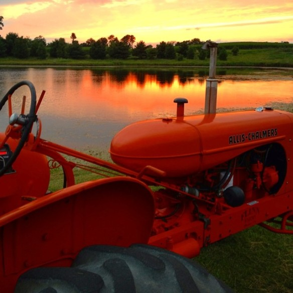 tractor and pond