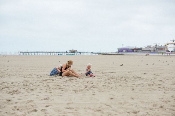 rachel and girls on beach